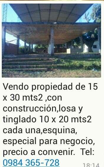 Vendo propiedad 15 por 30 com construcion de loza en san lorenzo