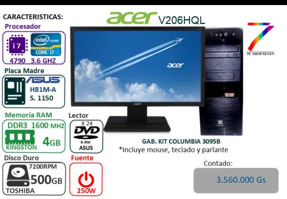 Pc combo core i7 4790 - ddr3 4gb 1600 - hdd 500gb