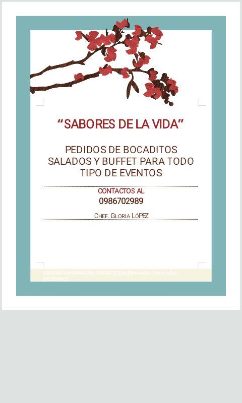 Pedidos de bocaditos salados y menus para todo tipo de eventos 0986702989
